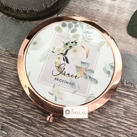 Personalised Initial and Name Floral Greenery Round Rose Gold Compact Mirror Wedding Bridesmaid Gift