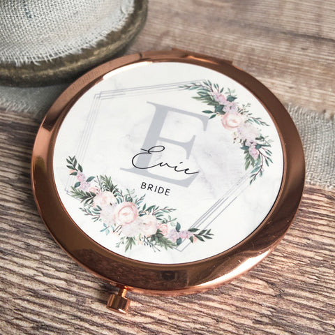 Personalised Initial and Name Floral Design Round Rose Gold Compact Mirror