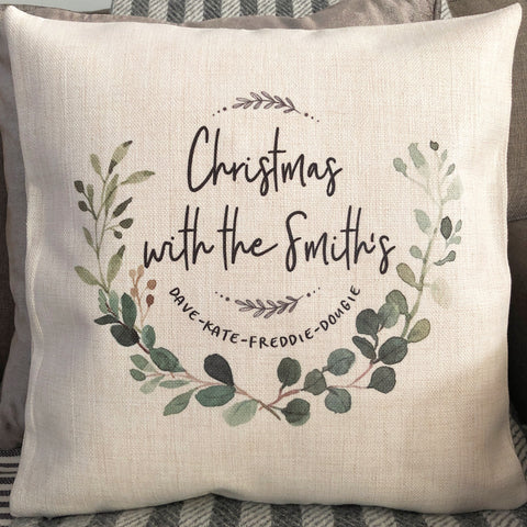 Personalised Christmas with the .... Botanical Linen Style Cushion