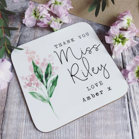 Personalised Thank You Teacher Floral Coaster