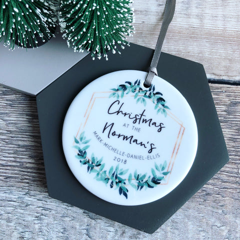Family Christmas Botanical Round Ceramic Tree Hanger Decoration Ornament
