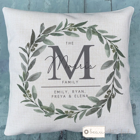 Personalised Monogram Family Names ... Botanical Greenery  Cushion