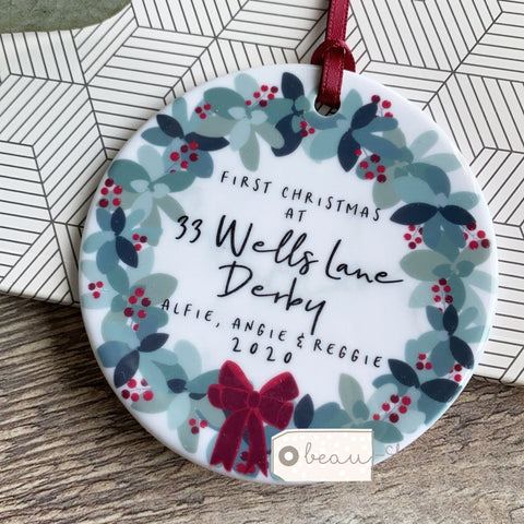 Personalised First Christmas at Address New Home Traditional Wreath Botanical Ceramic Round Decoration Ornament