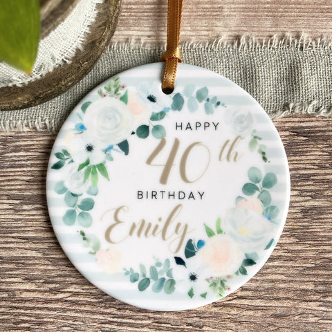 Personalised Happy Birthday Quote Floral Ceramic Ornament
