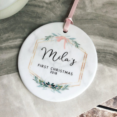 Personalised First Christmas Baby Girl Marble Style Quote Botanical Ceramic Round Decoration Ornament Keepsake