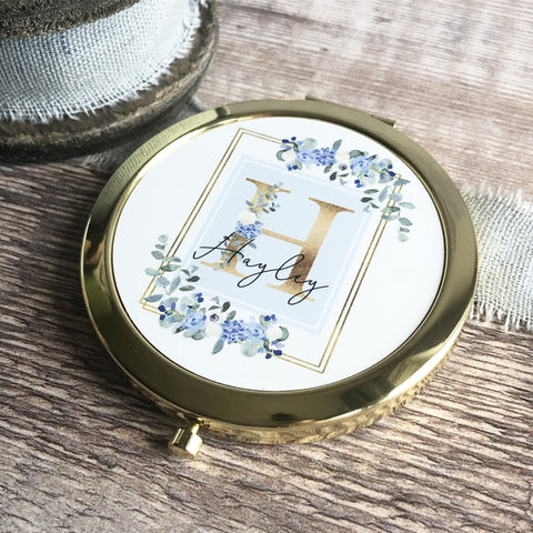Personalised Initial and Name Blue Floral Design Round Rose Gold Compact Mirror Wedding Bridesmaid Gift