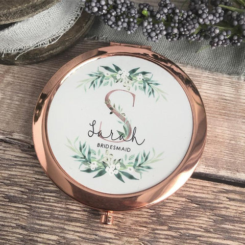 Personalised Initial and Name Botanical Design Round Rose Gold Compact Mirror Wedding Bridesmaid Gift