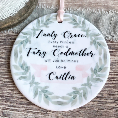 Personalised Will you be my Fairy Godmother Botanical Greenery Keepsake