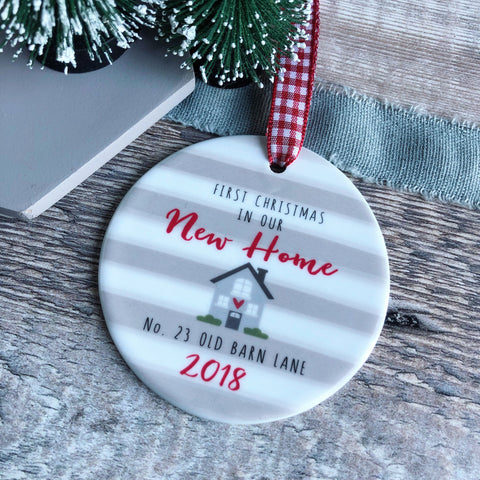 Personalised First Christmas in our New Home Stripe Round Ceramic Decoration