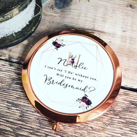 Personalised Initial and Name Will you be my Bridesmaid Maid of Honour Flower Girl Burgundy Floral Geometric Round Rose Gold Compact Mirror