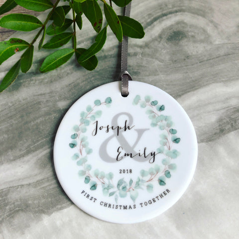 Personalised First Christmas Together Married Engaged Eucalyptus Detail Decoration ....Round Ceramic