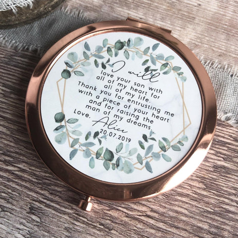 Personalised Mother of Groom Bride Thank you from Bride Groom Quote Geometric Greenery Rose Gold Compact Mirror