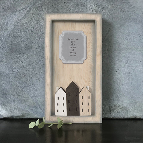 East of India Families are the heart of ... Quote Long Wooden Box Frame