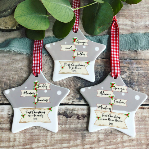 Personalised First Christmas Together Engaged Signpost Ceramic Star Decoration Ornament