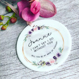 Personalised Will you be my Bridesmaid Wedding Decoration Pretty Floral....Ceramic Ornament
