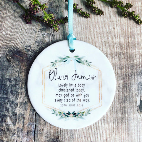 Personalised Christening Baptism Baby Quote Botanical Ceramic Round Decoration Ornament Keepsake