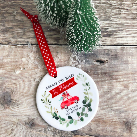Personalised Across the Miles Family Christmas Botanical Ceramic Round Decoration Ornament Keepsake