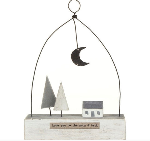 East of India Love you to the Moon Wooden Scene