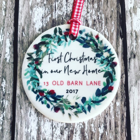Personalised First Christmas In our New Home Address Wreath Round Ceramic Tree Hanger Decoration Ornament
