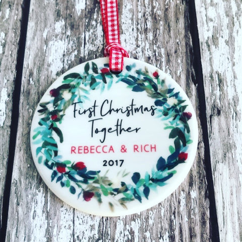 Personalised First Christmas Together Wreath Round Ceramic Tree Hanger Decoration Ornament
