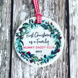Personalised First Christmas as a Family Wreath Round Ceramic Tree Hanger Decoration Ornament