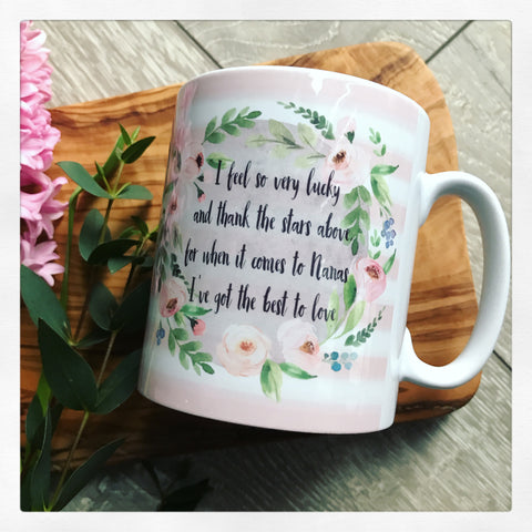 I Feel so very Lucky Floral Wreath Mug