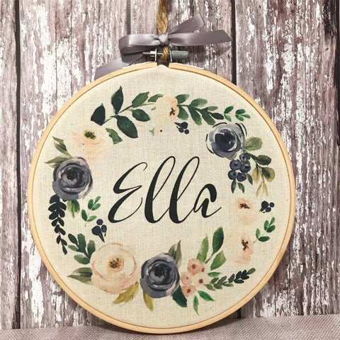 Personalised Floral Wreath Hoop