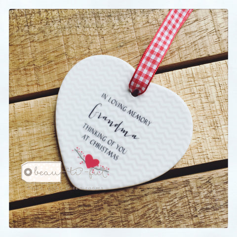 In Loving Memory at Christmas Ceramic Heart Decoration