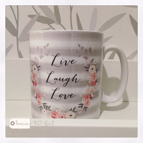 Live Laugh Love Floral Ceramic Mug