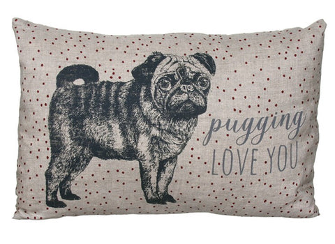 East of India Pugging Love You Cushion