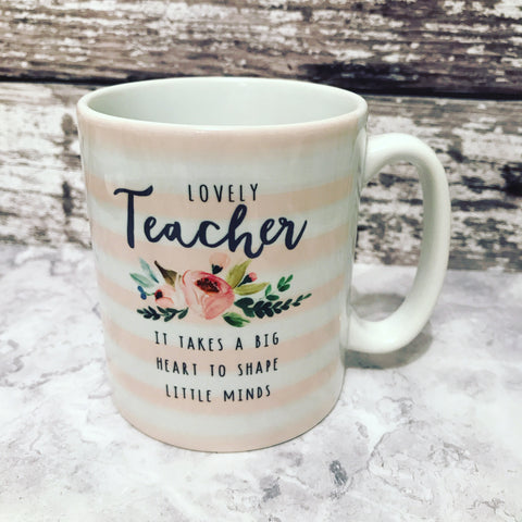 Lovely Teacher Pink Stripe Mug