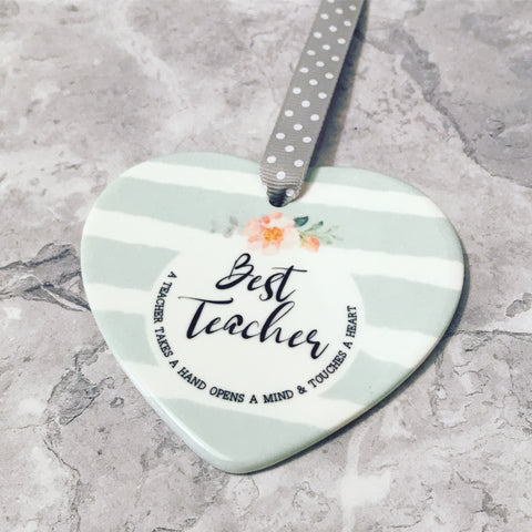 Best Teacher Aqua Stripe Ceramic Heart - Teacher Gift - Keepsake