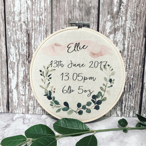 Personalised Botanical Wreath New Baby Hoop Frame