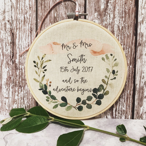 Personalised Botanical Wreath Wedding Hoop Frame
