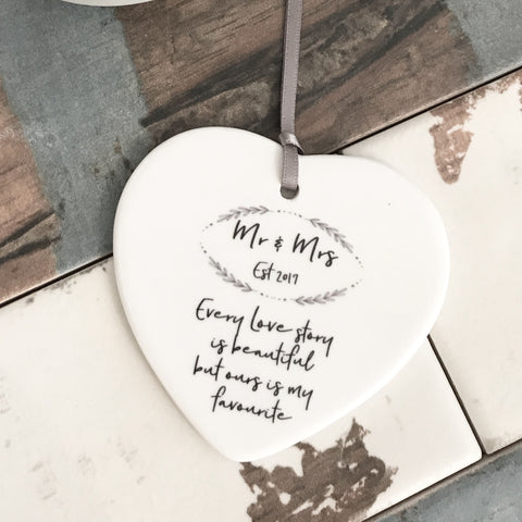 Mr & Mrs Every Love Story is Beautiful Ceramic Heart Keepsake