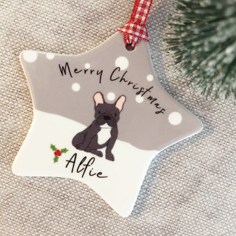 Personalised Dog Pet Merry Christmas Ceramic Star