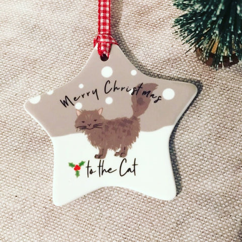 Personalised Cat Pet Merry Christmas Ceramic Star