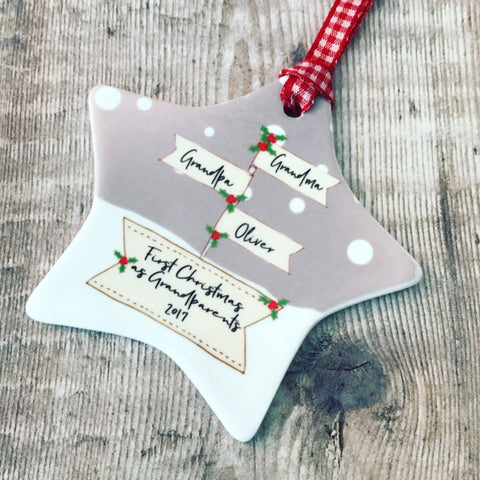 Personalised First Christmas as Grandparents Signpost Ceramic Star Christmas Decoration Ornament