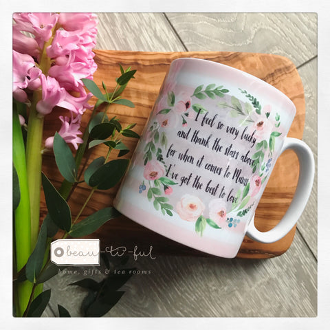 I Feel so very Lucky Mum Floral Wreath Mug