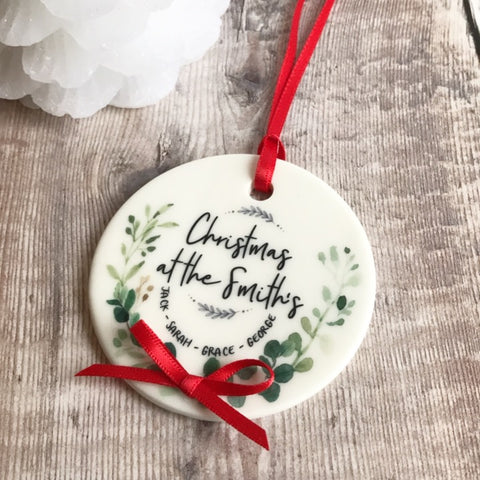 Christmas At The ..... Family Botanical Round Ceramic Tree Hanger Decoration Ornament