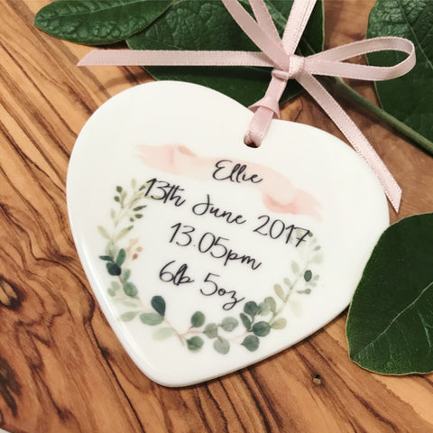 Personalised New Baby Botanical Wreath Ceramic Heart