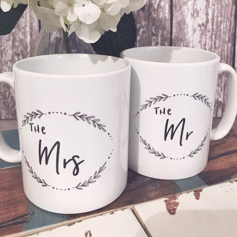 The Mr The Mrs Wedding Gift Mug Set