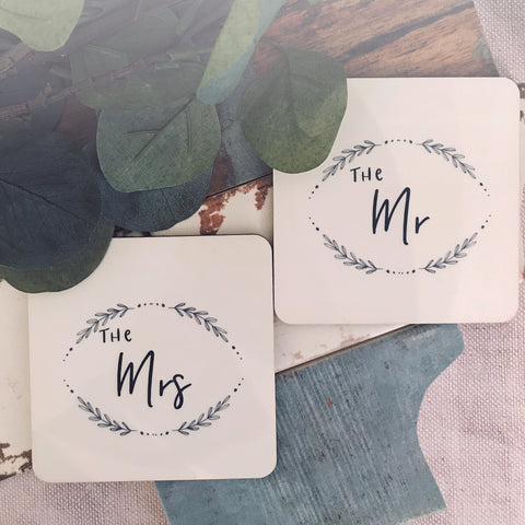 The Mr & The Mrs Coaster Set - Saying Coasters- Wedding