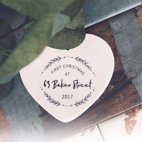 Personalised First Christmas At... 2017 -Ceramic Heart - Christmas - Keepsake - Address - New Home Branch