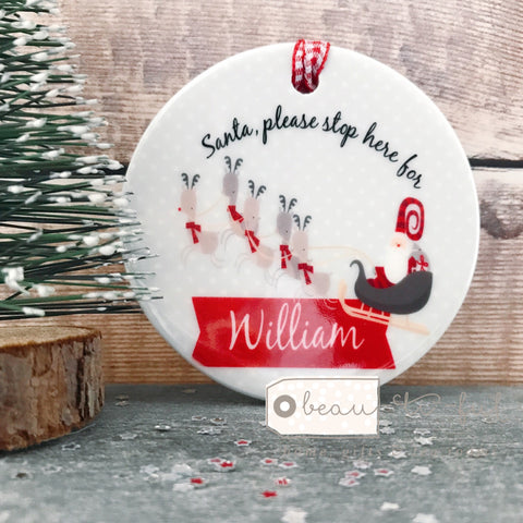 Personalised Nordic Style 'Santa, please stop here for ...' Christmas Ceramic Decoration