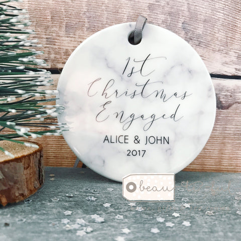 Personalised First Christmas Engaged Marble Style Ceramic Decoration Christmas Gift Keepsake Tree Ornament Bauble Decoration