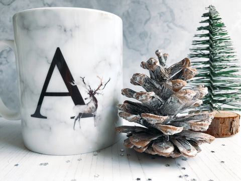 Marble Style Monogram Initial Mug with Stag Detail