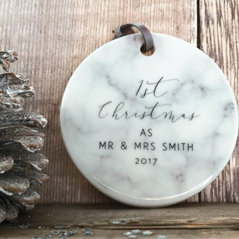 personalised first christmas as mr mrs marble style ceramic decoration christmas gift keepsake tree ornament