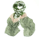 Leaf Print Spot Border Scarf - Green