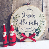 Personalised Christmas At The .... Family Name Hoop Frame - Wall Art - Wall Decor - Gift